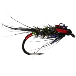 Diawl Bach UV Black & Red - Unweighted Nymph Trout Flies